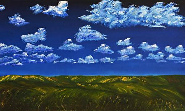 Kansas Art Print featuring the painting Clouds And Grass Field by Gregory Allen Page