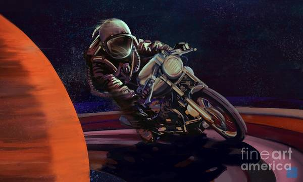 Cafe Racer Art Print featuring the painting Cosmic Cafe Racer by Sassan Filsoof