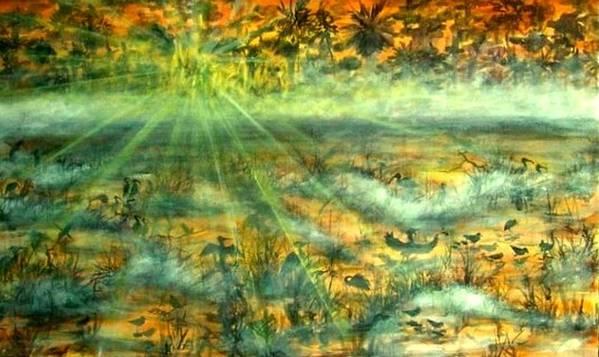 Mist Art Print featuring the painting Everglades Morning Mist by Ana Bikic