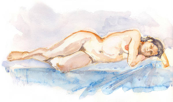 Woman Art Print featuring the painting Female Nude 04 by Nelson Caramico