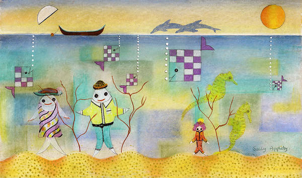 Fantasy Art Print featuring the mixed media Fish Family by Sally Appleby