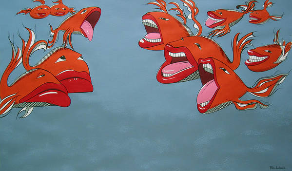 Seascape Art Print featuring the painting Fish Fight by Patricia Van Lubeck