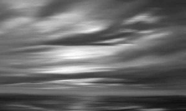 Abstract Seascape Art Print featuring the painting Gulf Sunset In Black And White by Leonard Frederick
