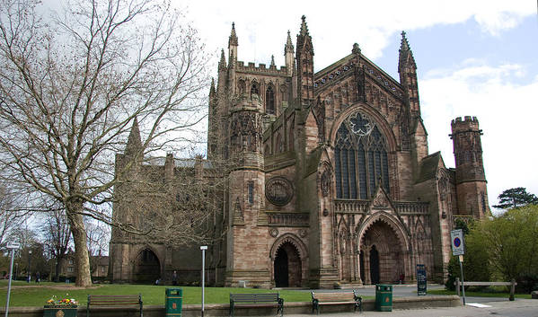Cathedral Art Print featuring the photograph Hereford Cathedral England by Bob Kemp