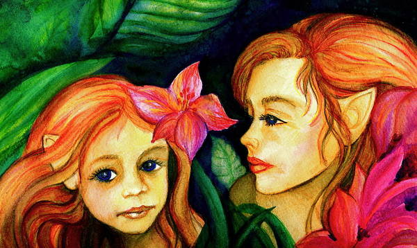 Fairies Art Print featuring the painting In The Woods by L Lauter
