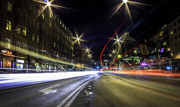 Long Exposure Art Print featuring the photograph Light Trails 2 by Nicklas Gustafsson