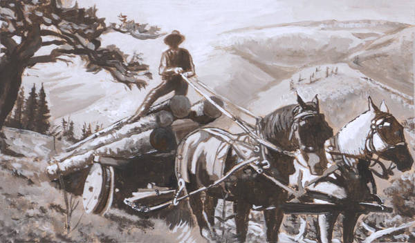 Historical Art Print featuring the painting Log Wagon Historical Vignette by Dawn Senior-Trask