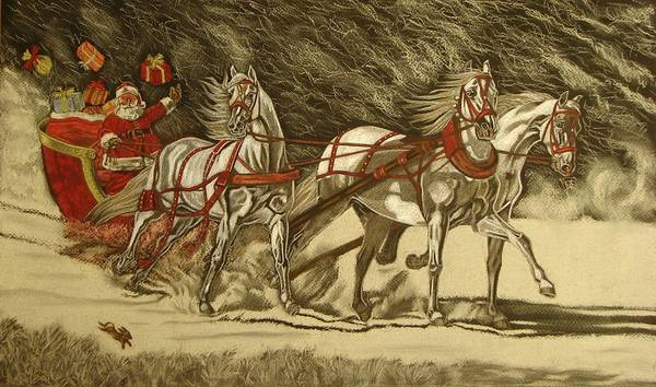 Horse Art Print featuring the drawing Magical Christmas by Melita Safran