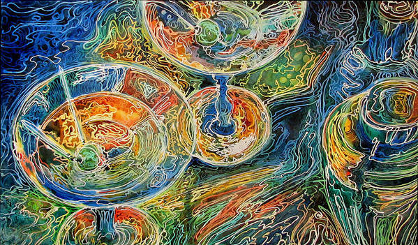 Batik Art Print featuring the painting Martini Bar A Fine Art Batik By M Baldwin by Marcia Baldwin