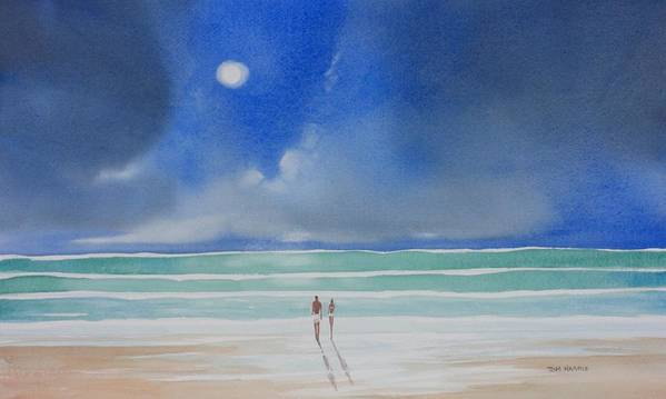 Moonlight Art Print featuring the painting Moonlight At The Beach II by Tom Harris