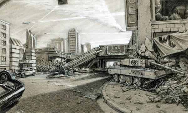 Cityscape Art Print featuring the drawing New World Order by Nicholas Bockelman