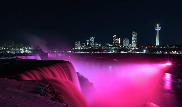 Usa Art Print featuring the photograph Niagara Falls At Night - Pink by Framing Places