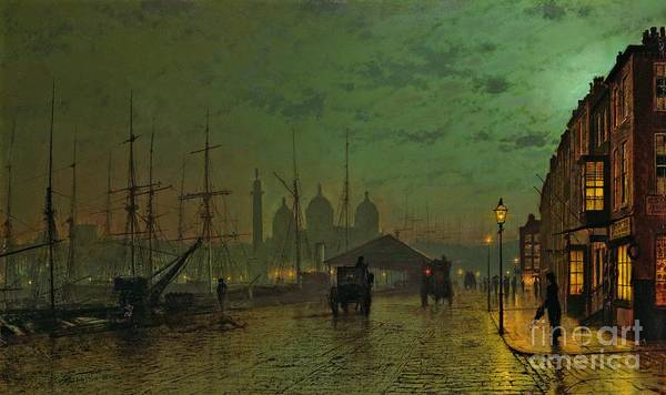 Prince Print featuring the painting Prince's Dock Hull by John Atkinson Grimshaw