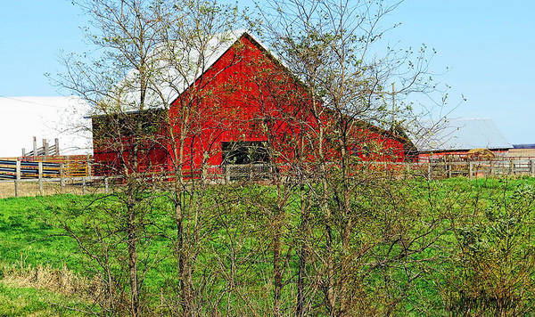 Photography; Photograph; Photo; Picture; Barn; Red; Country; Rural; Landscape; Old; Art Art Print featuring the photograph Red by Lu Brown