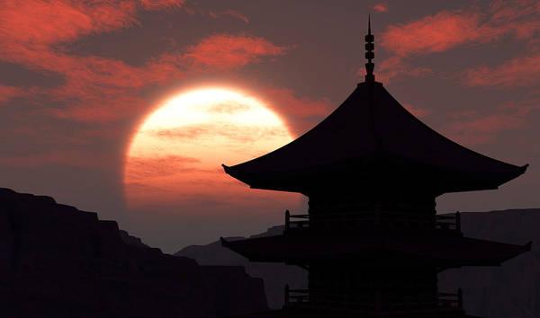 Oriental Art Print featuring the digital art Rising Sun by Richard Rizzo