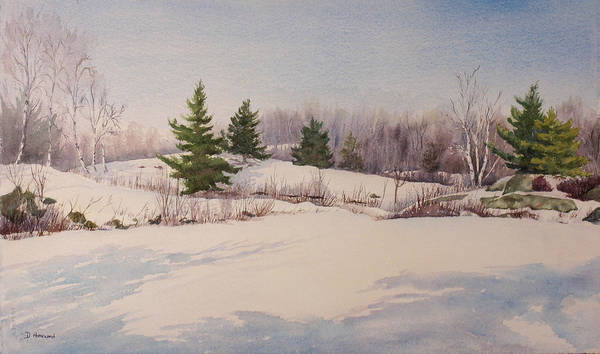 Shadows Art Print featuring the painting Shadows On Snow In The Canadian Shield by Debbie Homewood