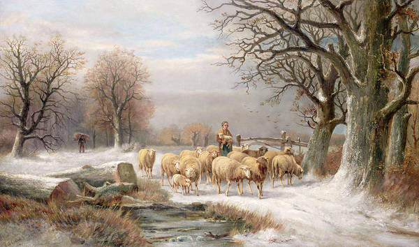 Sheep; Snow; Bleak; Lamb; Log; Carrying; Firewood; Troupeau; Flock; Mouton Art Print featuring the painting Shepherdess With Her Flock In A Winter Landscape by Alexis de Leeuw