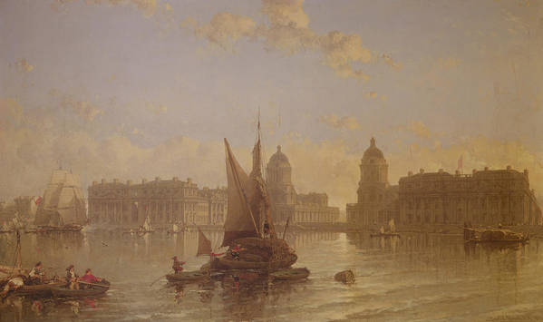 Shipping Art Print featuring the painting Shipping On The Thames At Greenwich by David Roberts
