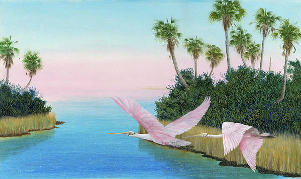 Spoon Bill Art Print featuring the painting Spoonbills In Flight by Kevin Brant