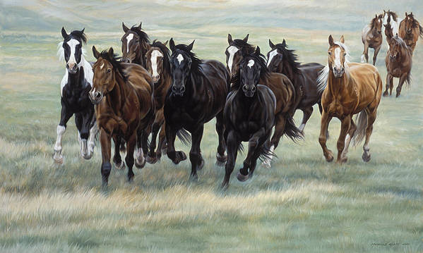 Michelle Grant Art Print featuring the painting Stampede by JQ Licensing