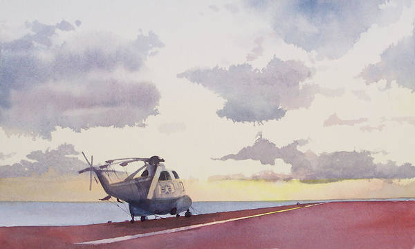 Navy Art Print featuring the painting Sunrise Uss John F. Kennedy by Philip Fleischer