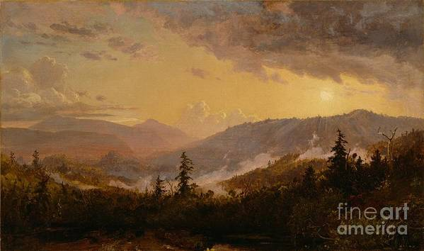 Sunset Art Print featuring the painting Sunset After A Storm In The Catskill Mountains by Jasper Francis Cropsey