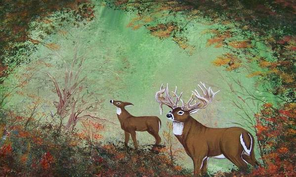 Buck Art Print featuring the painting Surreal Deer by Jena Gillam