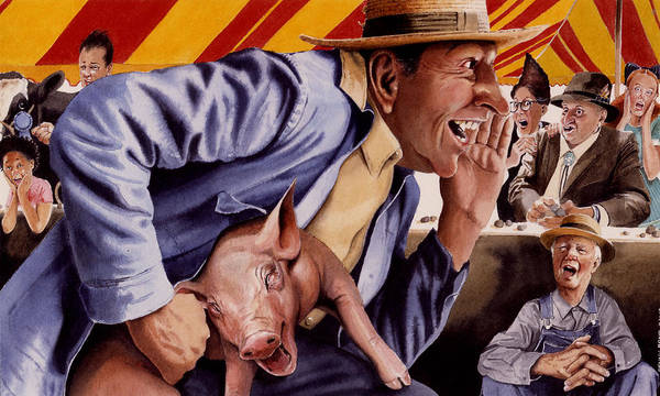Country Fair Art Print featuring the painting The Buffoon And The Countryman by Denny Bond