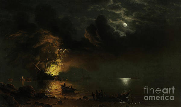 Bierstadt Art Print featuring the painting The Burning Ship, 1869 by Albert Bierstadt