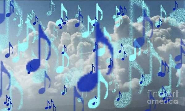 Art Print featuring the digital art The Greater Clouds Of Witnesses We Love The Blues Too by Brenda L Spencer