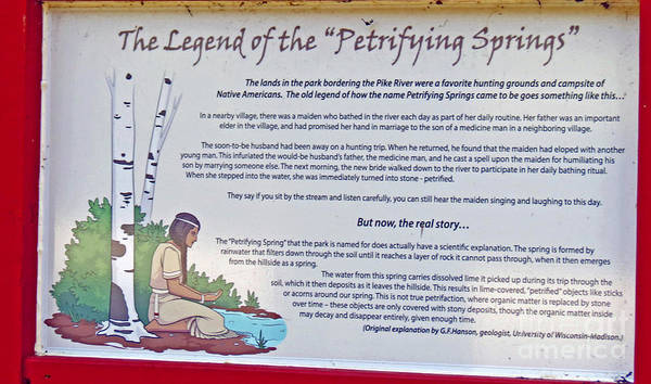 Sign Art Print featuring the photograph The Legend Of The Petrifying Springs by Kay Novy