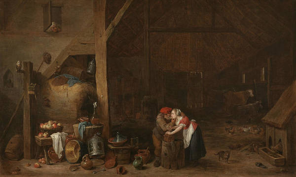 17th Century Art Art Print featuring the painting The Old Man And The Maid by David Teniers the Younger