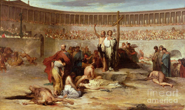 Coliseum; Colosseum; Audience; Spectators; Martyrdom; Execution; Public; Christianity; Persecution; Cross; Christians; Slaughter; Thrown To The Lions; Lion; Roman; Followers Of Christ; New Religion; Martyr; Ancient Rome Art Print featuring the painting Triumph Of Faith  Christian Martyrs In The Time Of Nero by Eugene Romain Thirion