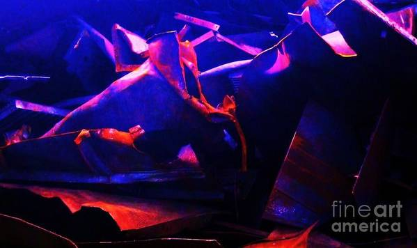 Twisted Metal Blue Red Scrap Rust Art Print featuring the photograph Twisted Metal by Reb Frost
