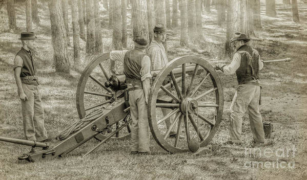 Union Cannon Civil War Art Print featuring the digital art Union Cannon Civil War Sepia Version by Randy Steele