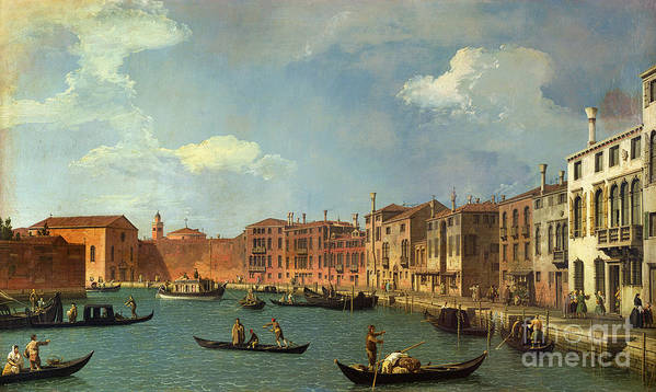 View Of The Canal Of Santa Chiara Art Print featuring the painting View Of The Canal Of Santa Chiara by Canaletto
