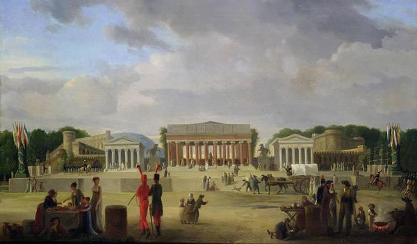 View Art Print featuring the painting View Of The Grand Theatre Constructed In The Place De La Concorde For The Fete De La Paix by Jean Baptiste Louis Cazin