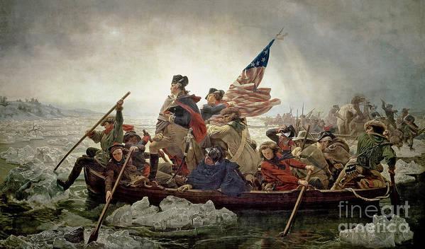 Washington Art Print featuring the painting Washington Crossing The Delaware River by Emanuel Gottlieb Leutze