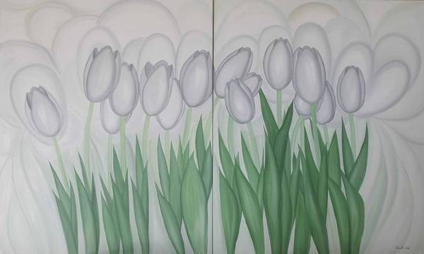 Marinella Owens Art Print featuring the painting White Tulips by Marinella Owens
