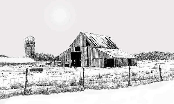 Barn Art Print featuring the drawing Winter Barn by Lyle Brown