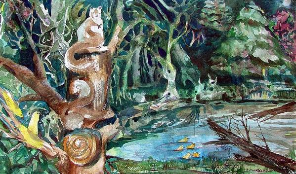 Squirrels Art Print featuring the painting Woodland Critters by Mindy Newman