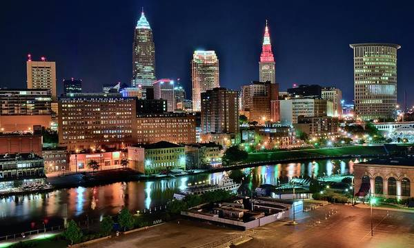 Cleveland Art Print featuring the photograph Cleveland Iconic Night Lights by Frozen in Time Fine Art Photography
