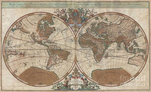 : An Extraordinary Map Of Monumental Proportions Art Print featuring the photograph 1691 Sanson Map Of The World On Hemisphere Projection by Paul Fearn
