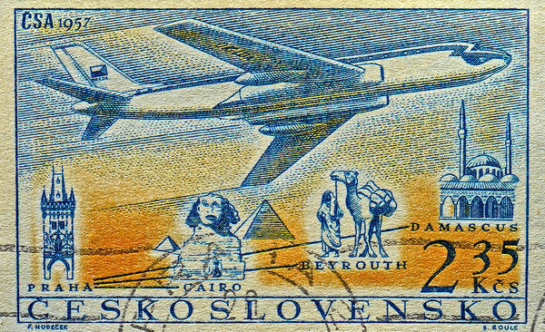 1957 Art Print featuring the photograph 1957 Czechoslovakia Airline Stamp by Bill Owen