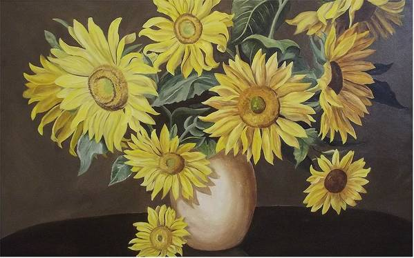 Flowers Art Print featuring the painting Sunshine And Sunflowers by Wanda Dansereau