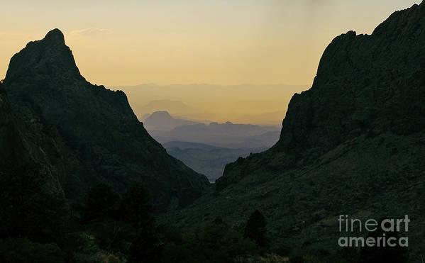 Travelpixpro Big Bend Art Print featuring the photograph The Window At Sunset In Chisos Mountains Of Big Bend National Park Texas by Shawn O'Brien