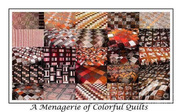 A Menagerie Of Colorful Quilts Autumn Colors Quilter Art Print featuring the tapestry - textile A Menagerie Of Colorful Quilts - Autumn Colors - Quilter by Barbara Griffin