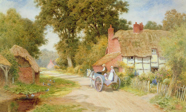 Horse And Cart; Thatched Cottage; Thatch; Half-timbered; Country Lane; Rural; Duck Pond; Ducks; Victorian; Countryside Art Print featuring the painting A Warwickshire Lane by Arthur Claude Strachan