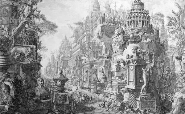 Allegory; Fantasy; Imagination; Imaginative; Architecture; Symbols; Ancient Rome Art Print featuring the drawing Allegorical Frontispiece Of Rome And Its History From Le Antichita Romane by Giovanni Battista Piranesi