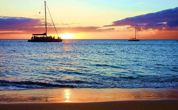 Hawaii Art Print featuring the photograph At Sea Sunset by Robert Aycock